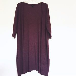 Eileen Fisher wool cashmere angora cardigan long
